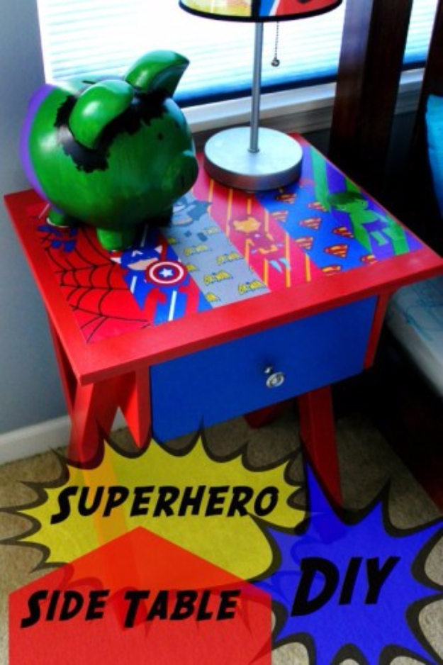 DIY Room Decor for Boys - Superhero Side Table DIY - Best Creative Bedroom Ideas for Boy Rooms - Wall Art, Lamps, Rugs, Lamps, Beds, Bedding and Furniture You Can Make for Teens, Tweens and Teenagers #diy #homedecor #boys