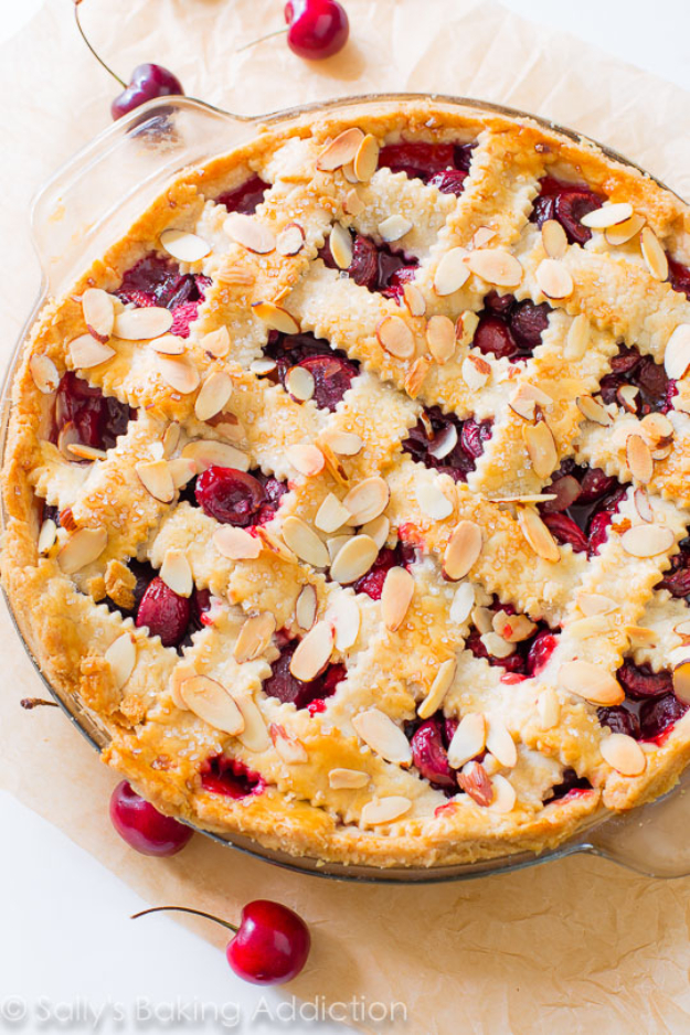 Best Pie Recipes - Sweet Cherry Pie With Toasted Almonds - Easy Pie Recipes From Scratch for Pecan, Apple, Banana, Pumpkin, Fruit, Peach and Chocolate Pies. Yummy Graham Cracker Crusts and Homemade Meringue #recipes #dessert