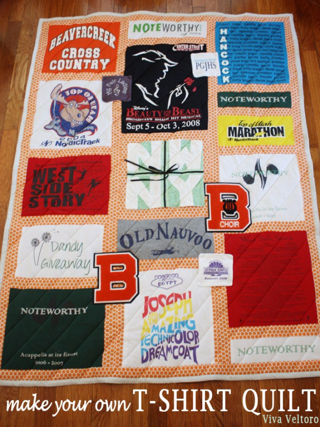 Best Quilting Projects for DIY Gifts - T-Shirt Quilt - Things You Can Quilt and Sew for Friends, Family and Christmas Gift Ideas - Easy and Quick Quilting Patterns for Presents To Give At Holidays, Birthdays and Baby Gifts. Step by Step Tutorials and Instructions http://diyjoy.com/quilting-projects-diy-gifts