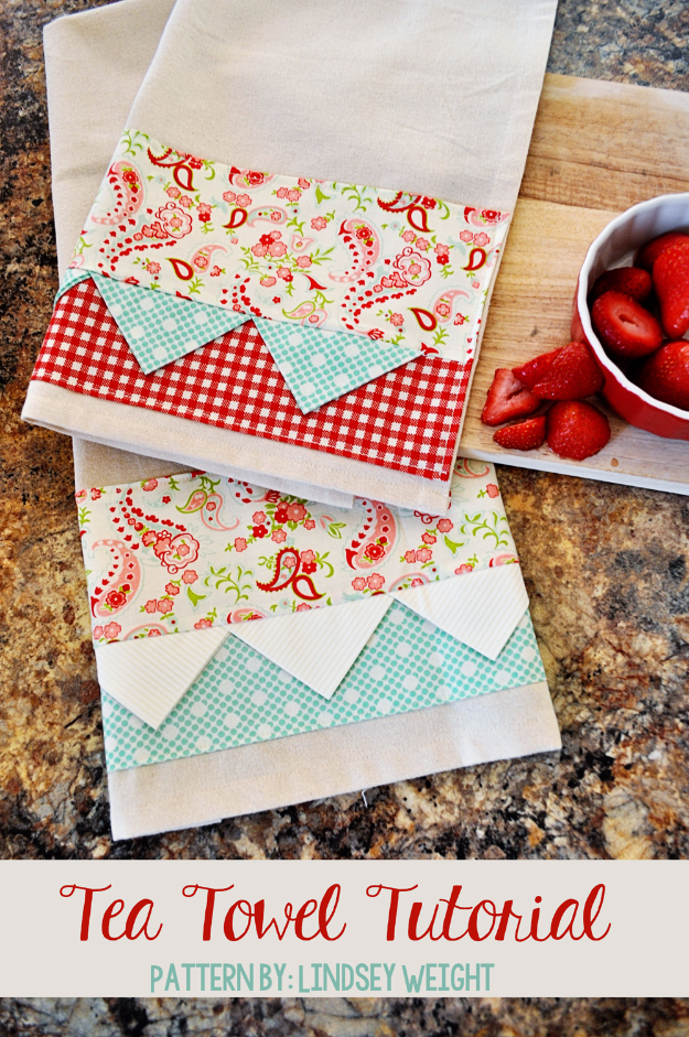 DIY Gifts To Sew For Friends - Tea Towel - Quick and Easy Sewing Projects and Free Patterns for Best Gift Ideas and Presents - Creative Step by Step Tutorials for Beginners - Cute Home Decor, Accessories, Kitchen Crafts and DIY Fashion Ideas #diy #crafts #sewing