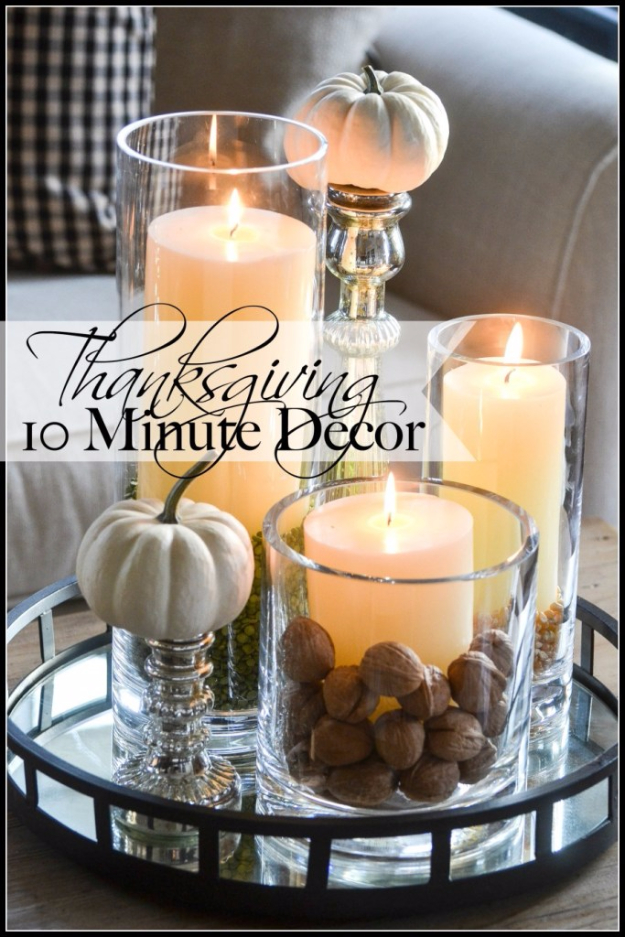 DIY Thanksgiving Decor Ideas - Thanksgiving 10 Minute Decor - Fall Projects and Crafts for Thanksgiving Dinner Centerpieces, Vases, Arrangements With Leaves and Pumpkins - Easy and Cheap Crafts to Make for Home Decor #diy