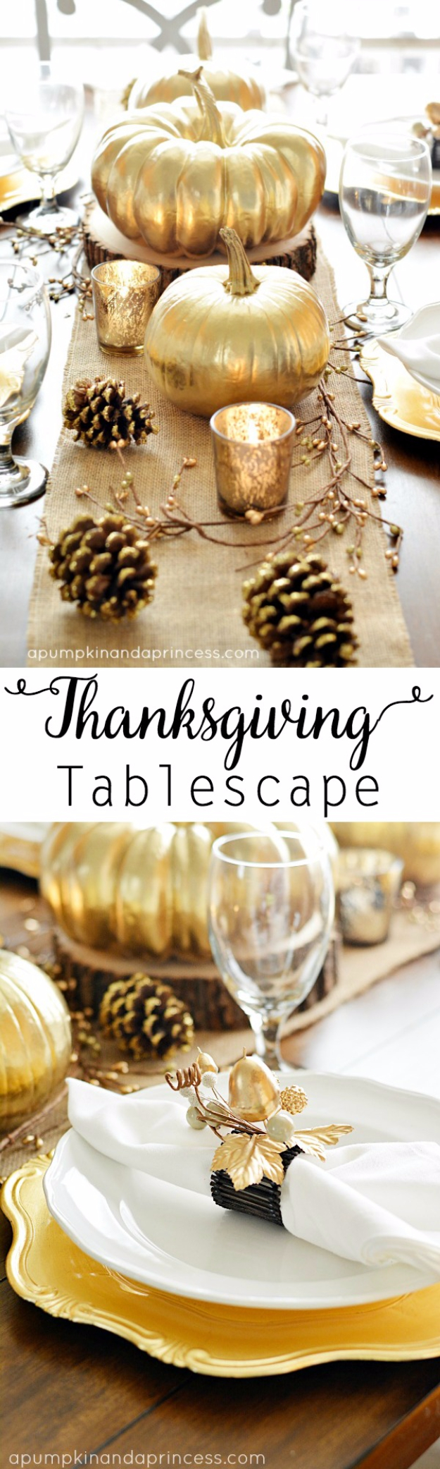 Best Thanksgiving Centerpieces and Table Decor - Thanksgiving Inspired Gold Table Decor - Creative Crafts for Your Thanksgiving Dinner Table. Mason Jars, Flowers, Leaves, Candles, Pumpkin Ideas #thanksgiving #diy
