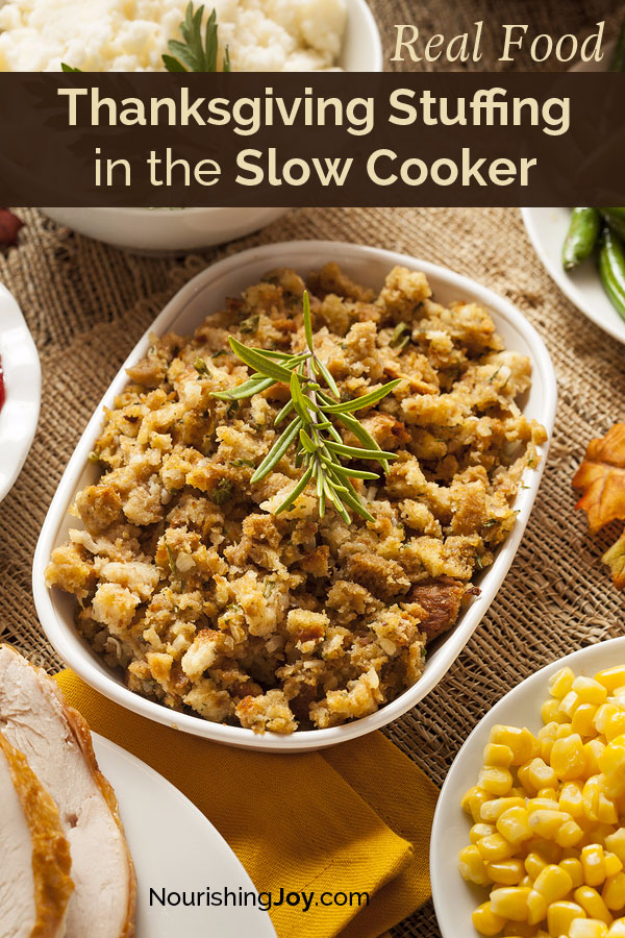 Thanksgiving Recipes You Can Make In A Crockpot or Slow Cooker - Thanksgiving Stuffing In The Slow Cooker - Soups, Stews, Desserts, Dips, Sides and Vegetable Recipe Ideas for Your Crock Pot #thanksgiving #recipes
