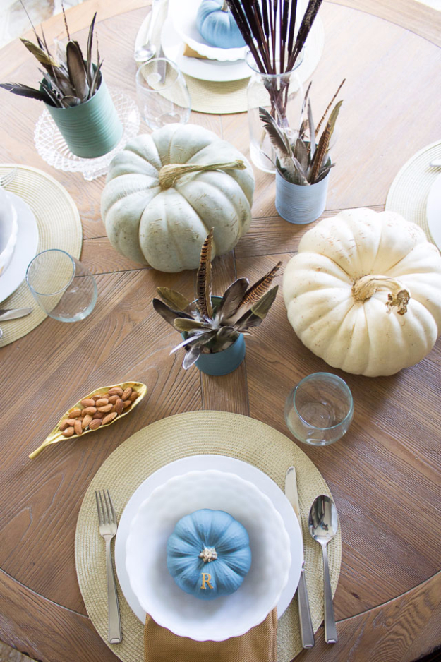 DIY Thanksgiving Decor Ideas - Thanksgiving Table Decor - Fall Projects and Crafts for Thanksgiving Dinner Centerpieces, Vases, Arrangements With Leaves and Pumpkins - Easy and Cheap Crafts to Make for Home Decor #diy