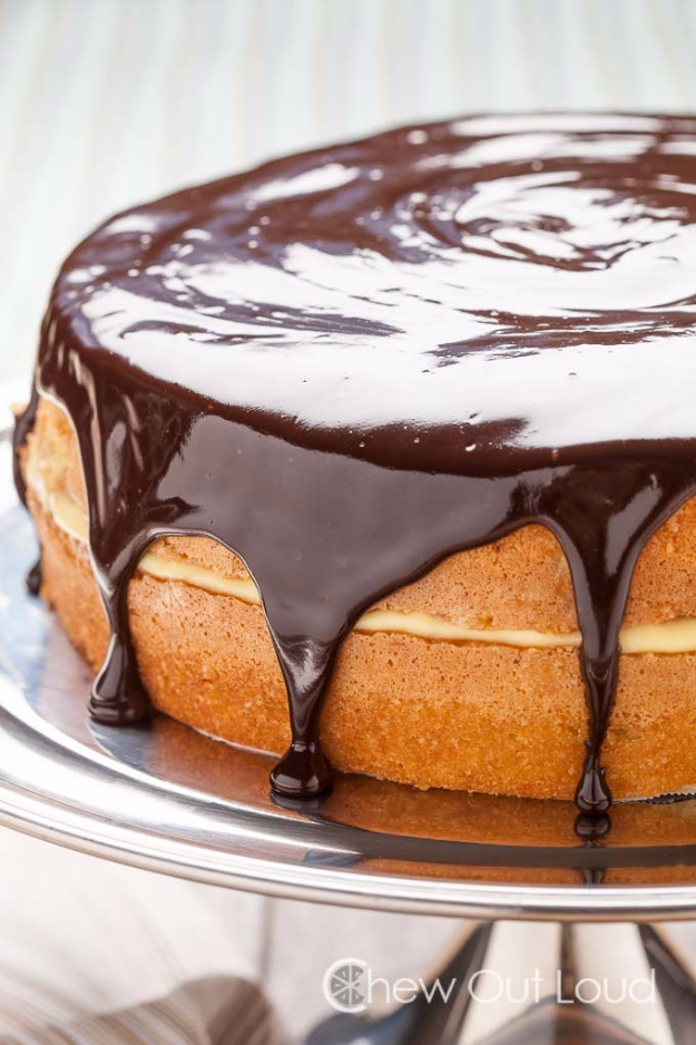 Best Pie Recipes - The Best Boston Cream Pie - Easy Pie Recipes From Scratch for Pecan, Apple, Banana, Pumpkin, Fruit, Peach and Chocolate Pies. Yummy Graham Cracker Crusts and Homemade Meringue #recipes #dessert