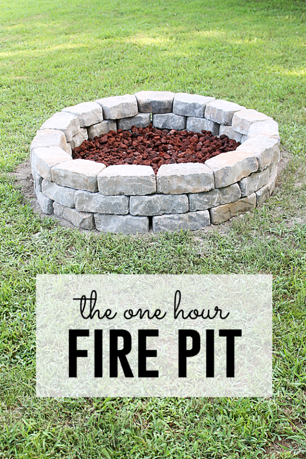 DIY Fireplace Ideas - The One Hour Firepit - Do It Yourself Firepit Projects and Fireplaces for Your Yard, Patio, Porch and Home. Outdoor Fire Pit Tutorials for Backyard with Easy Step by Step Tutorials - Cool DIY Projects for Men and Women http://diyjoy.com/diy-fireplace-ideas
