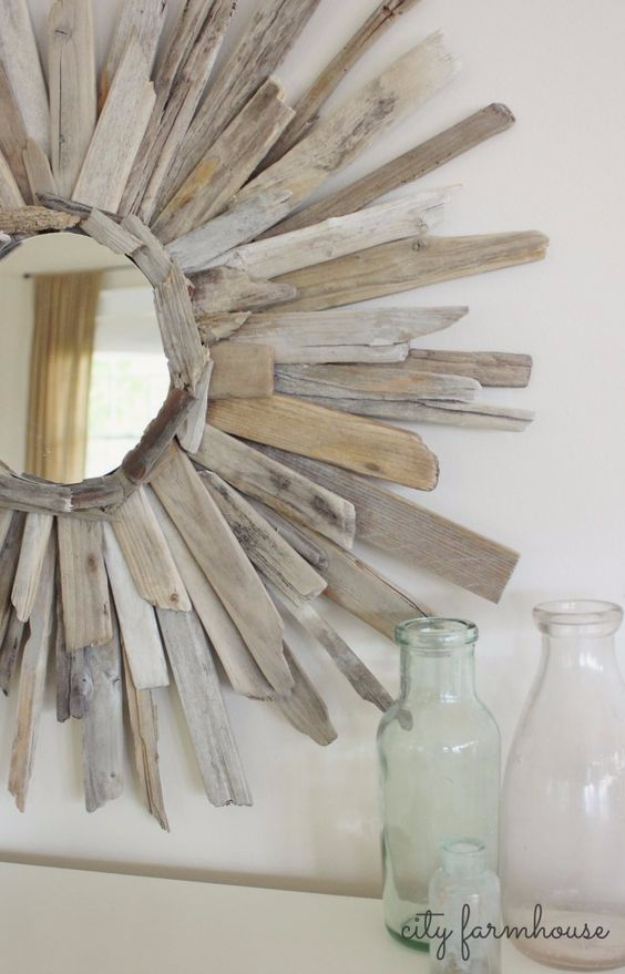 DIY Mirrors - Thrifty & Pretty DIY Driftwood Mirror - Best Do It Yourself Mirror Projects and Cool Crafts Using Mirrors - Home Decor, Bedroom Decor and Bath Ideas - Step By Step Tutorials With Instructions