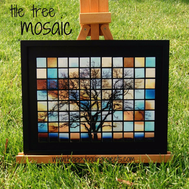 DIY Projects Made With Broken Tile - Tile Tree Mosaic - Best Creative Crafts, Easy DYI Projects You Can Make With Tiles - Mosaic Patterns and Crafty DIY Home Decor Ideas That Make Awesome DIY Gifts and Christmas Presents for Friends and Family