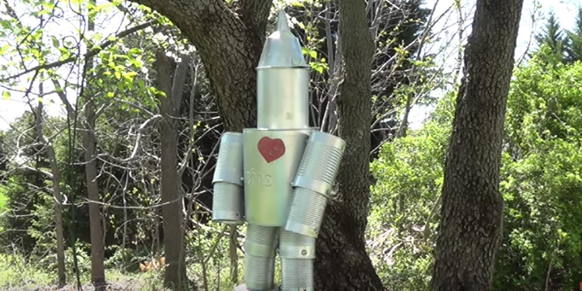Watch how she makes the famous beloved tin man out of for How to make a tin man out of cans