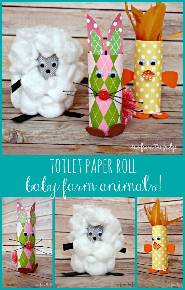 Crafts For Kids To Make At Home - Toilet Paper Roll Baby Farm Animals - Cheap DIY Projects and Fun Craft Ideas for Children - Cute Paper Crafts, Fall and Winter Fun, Things For Toddlers, Babies, Boys and Girls #kidscrafts #crafts #kids