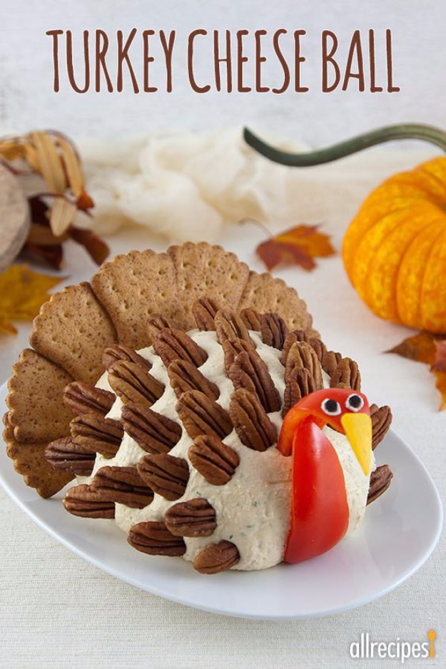 Best Thanksgiving Dinner Recipes - Turkey Cheese Ball - Easy DIY Desserts, Sides, Sauces, Main Courses, Vegetables, Pie and Side Dishes. Simple Gravy, Cranberries, Turkey and Pies With Step by Step Tutorials