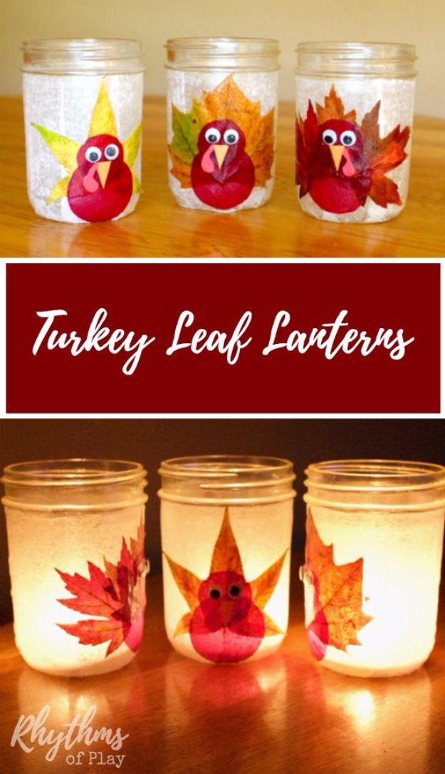 DIY Thanksgiving Decor Ideas - Turkey Leaf Lanterns - Fall Projects and Crafts for Thanksgiving Dinner Centerpieces, Vases, Arrangements With Leaves and Pumpkins - Easy and Cheap Crafts to Make for Home Decor #diy