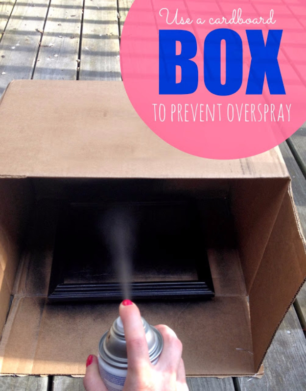DIY Crafting Hacks - Use A Cardboard Box To Prevent Overspray - Easy Crafting Ideas for Quick DIY Projects - Awesome Creative, Crafty Ways for Dollar Store, Organizing, Yarn, Scissors and Pom Poms