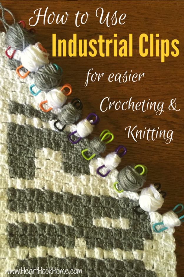 DIY Crafting Hacks - Use Industrial Clips for Yarn Bobbins in Crochet and Knitting - Easy Crafting Ideas for Quick DIY Projects - Awesome Creative, Crafty Ways for Dollar Store, Organizing, Yarn, Scissors and Pom Poms