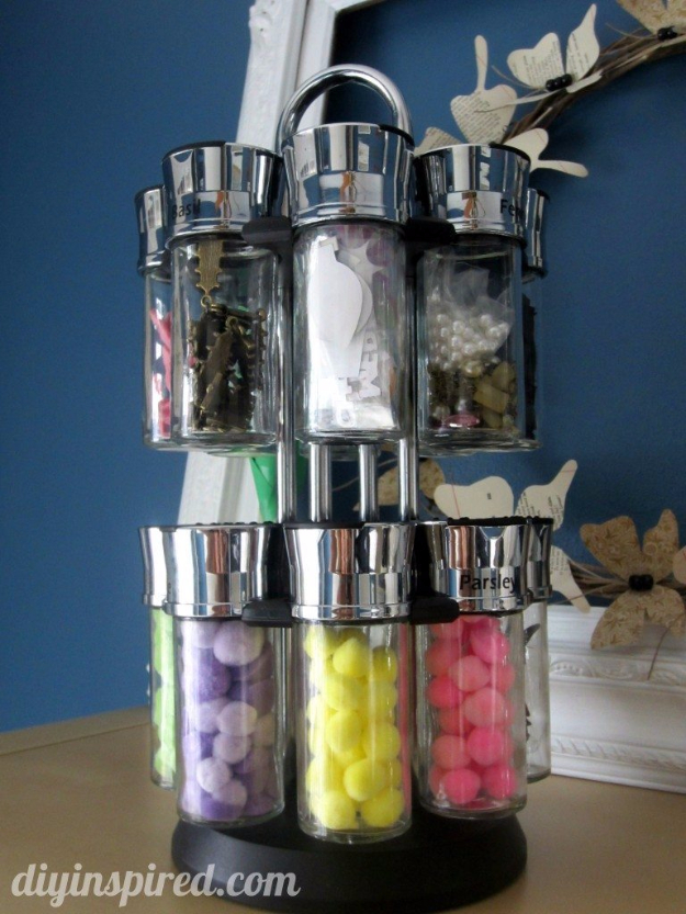 DIY Crafting Hacks - Use Rotating Spice Rack TO Contain Small Supplies - Easy Crafting Ideas for Quick DIY Projects - Awesome Creative, Crafty Ways for Dollar Store, Organizing, Yarn, Scissors and Pom Poms