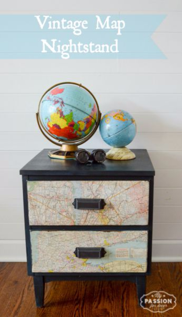 DIY Room Decor for Boys - Vintage Map Nightstand - Best Creative Bedroom Ideas for Boy Rooms - Wall Art, Lamps, Rugs, Lamps, Beds, Bedding and Furniture You Can Make for Teens, Tweens and Teenagers #diy #homedecor #boys