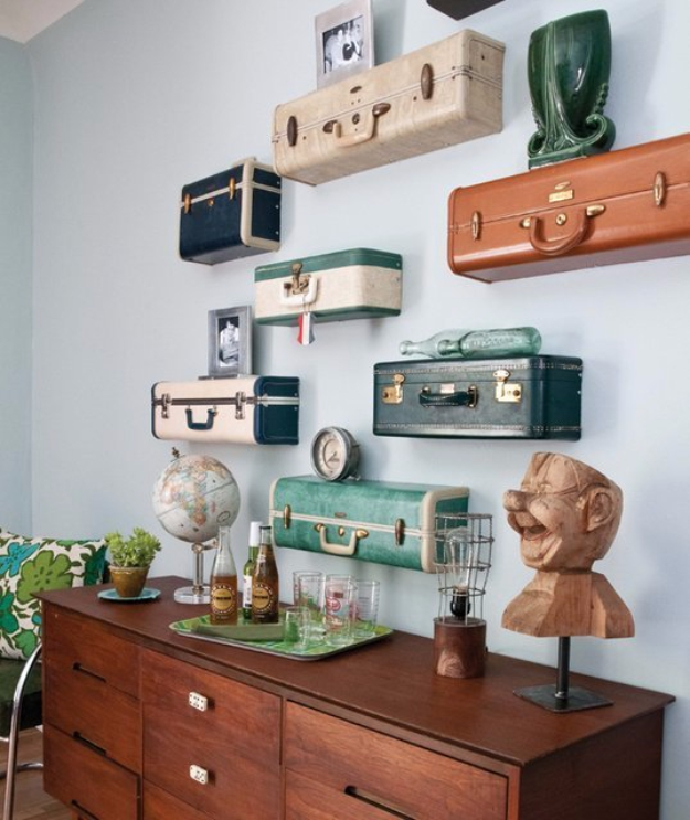 DIY Room Decor for Boys - Vintage Suitcase Shelves - Best Creative Bedroom Ideas for Boy Rooms - Wall Art, Lamps, Rugs, Lamps, Beds, Bedding and Furniture You Can Make for Teens, Tweens and Teenagers #diy #homedecor #boys