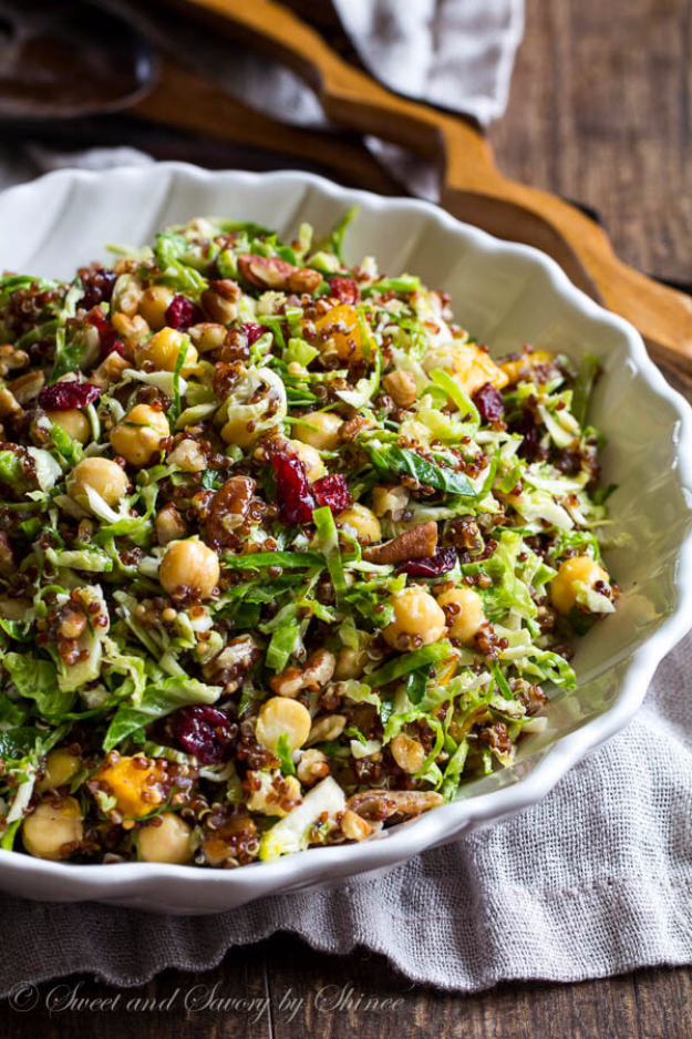 Best Thanksgiving Dinner Recipes - Warm Quinoa Brussel Sprouts Salad - Easy DIY Desserts, Sides, Sauces, Main Courses, Vegetables, Pie and Side Dishes. Simple Gravy, Cranberries, Turkey and Pies With Step by Step Tutorials