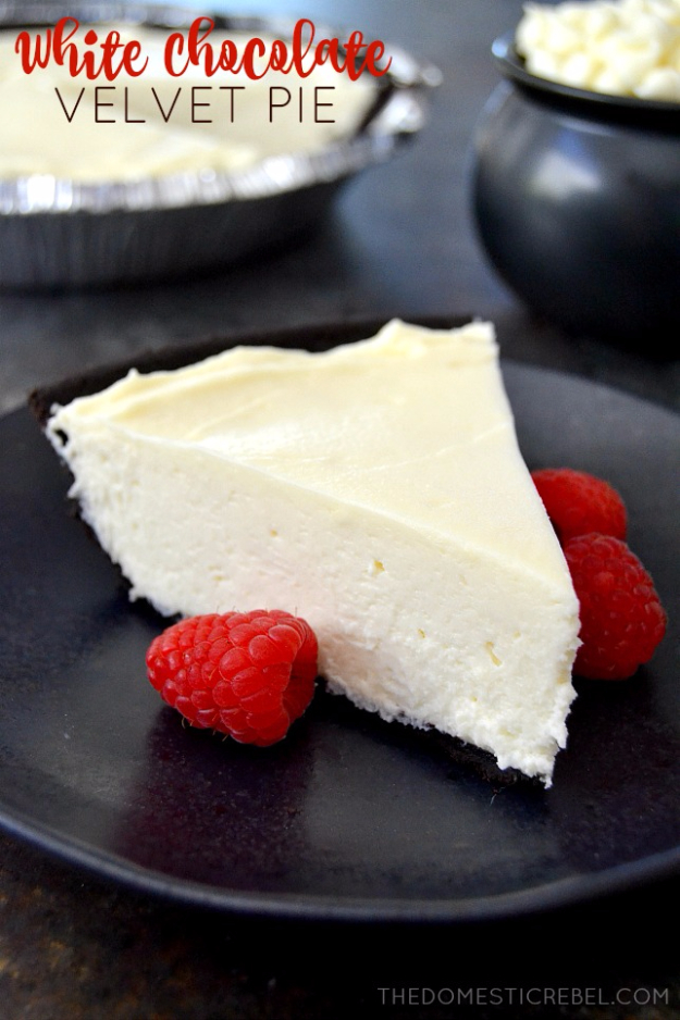 Best Pie Recipes - White Chocolate Velvet Pie - Easy Pie Recipes From Scratch for Pecan, Apple, Banana, Pumpkin, Fruit, Peach and Chocolate Pies. Yummy Graham Cracker Crusts and Homemade Meringue - Thanksgiving and Christmas Pies and Mason Jar Pie Recipes http://diyjoy.com/best-pie-recipes