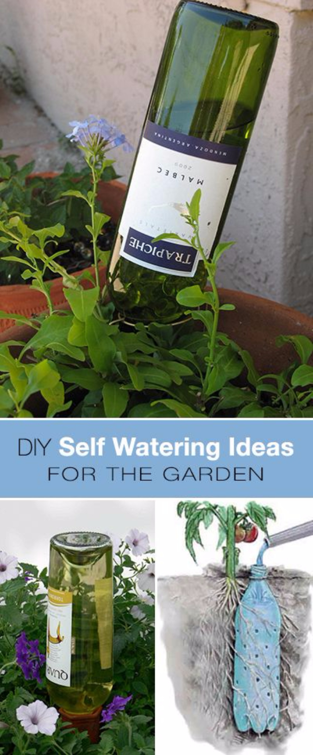 DIY Landscaping Hacks - Wine Bottle Self Watering DIY For Your Garden - Easy Ways to Make Your Yard and Home Look Awesome in Fall, Winter, Spring and Fall. Backyard Projects for Beginning Gardeners and Lawns - Tutorials and Step by Step Instructions