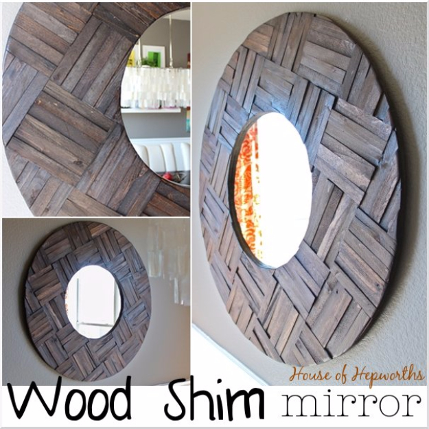 DIY Mirrors - Wood Shim Mirror - Best Do It Yourself Mirror Projects and Cool Crafts Using Mirrors - Home Decor, Bedroom Decor and Bath Ideas - Step By Step Tutorials With Instructions