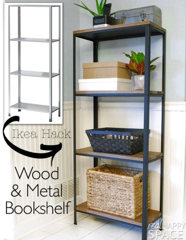 Best IKEA Hacks and DIY Hack Ideas for Furniture Projects and Home Decor from IKEA - Wood and Metal Bookshelf - Creative IKEA Hack Tutorials for DIY Platform Bed, Desk, Vanity, Dresser, Coffee Table, Storage and Kitchen, Bedroom and Bathroom Decor #ikeahacks #diy