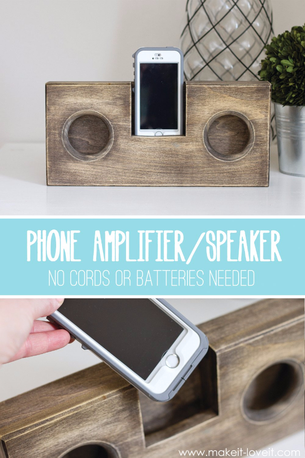 DIY Gifts for Dad - Wooden Phone Amplifier - Best Craft Projects and Gift Ideas You Can Make for Your Father - Last Minute Presents for Birthday and Christmas - Creative Photo Projects, Gift Card Holders, Gift Baskets and Thoughtful Things to Give Fathers and Dads http://diyjoy.com/diy-gifts-for-dad
