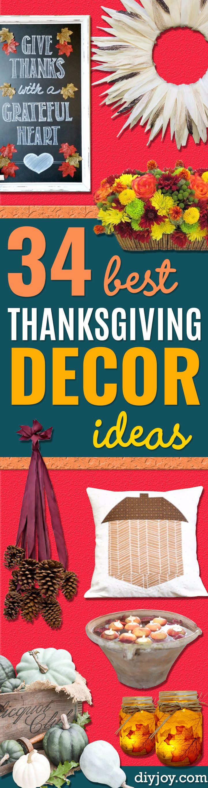 Best Thanksgiving Centerpieces and Table Decor - - Creative Crafts for Your Thanksgiving Dinner Table. Mason Jars, Flowers, Leaves, Candles and Pumkin Decorations for Your FallHome Decor