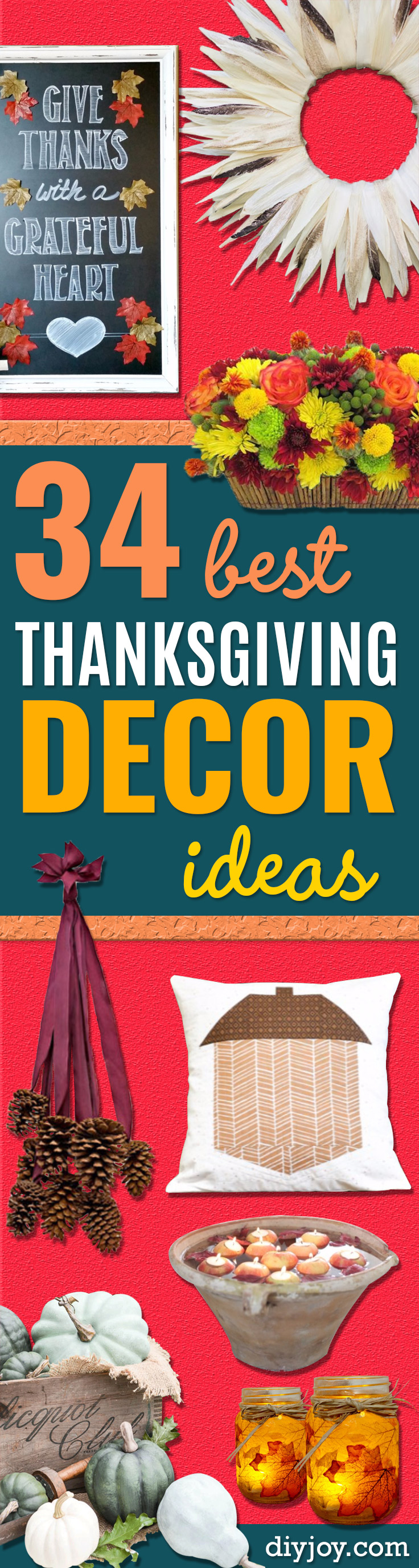 DIY Thanksgiving Decor Ideas - Fall Projects and Crafts for Thanksgiving Dinner Centerpieces, Vases, Arrangements With Leaves and Pumpkins - Easy and Cheap Crafts to Make for Home Decor http://diyjoy.com/diy-thanksgiving-decor-ideas
