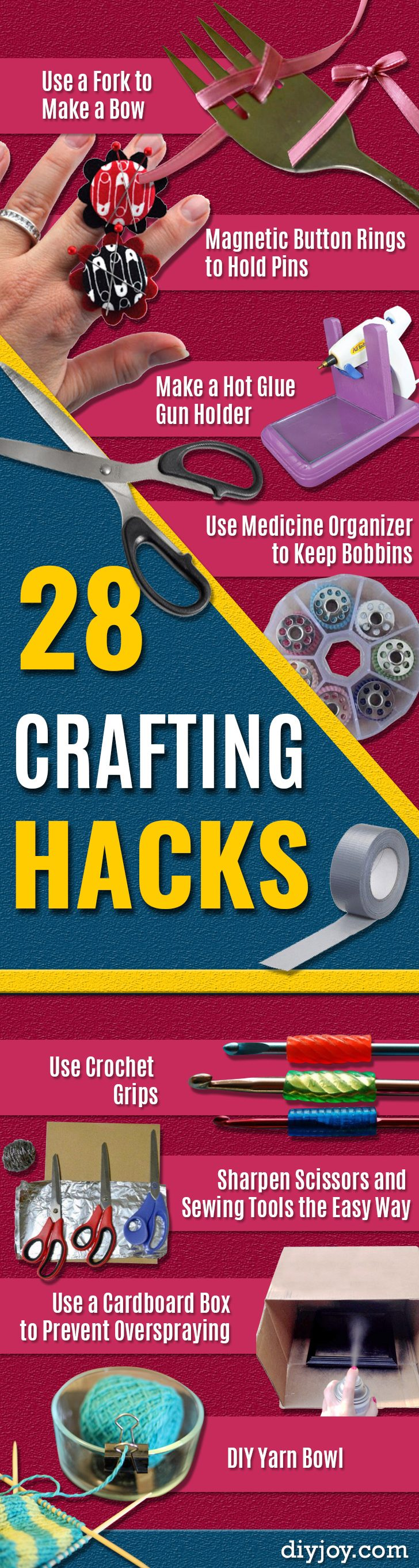 DIY Crafting Hacks - Easy Crafting Ideas for Quick DIY Projects - Awesome Creative, Crafty Ways for Dollar Store, Organizing, Yarn, Scissors and Pom Poms