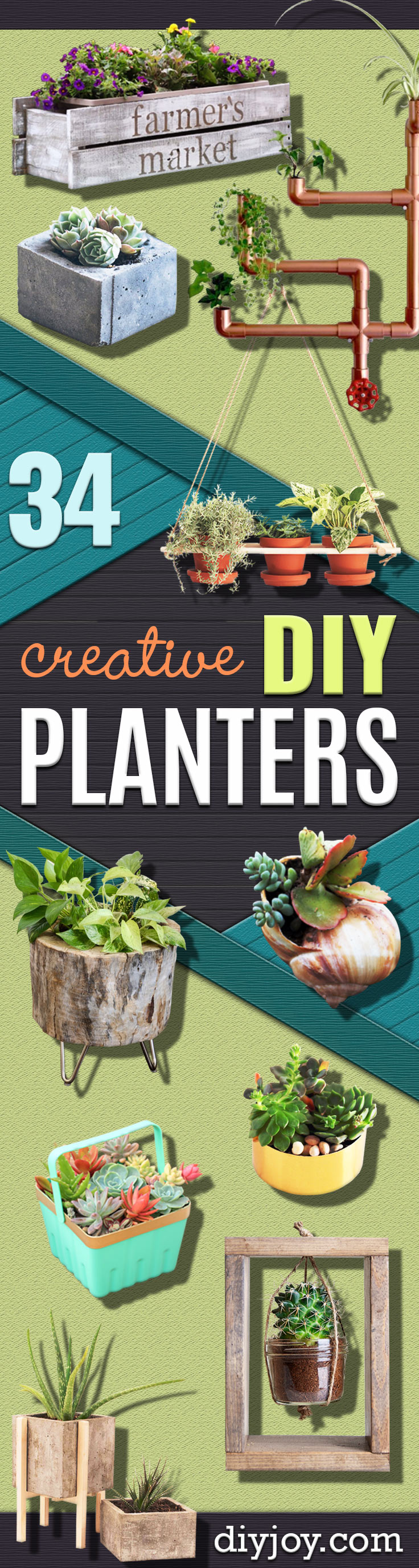 Creative DIY Planters - Best Do It Yourself Planters and Crafts You Can Make For Your Plants - Indoor and Outdoor Gardening Ideas - Cool Modern and Rustic Home and Room Decor for Planting With Step by Step Tutorials