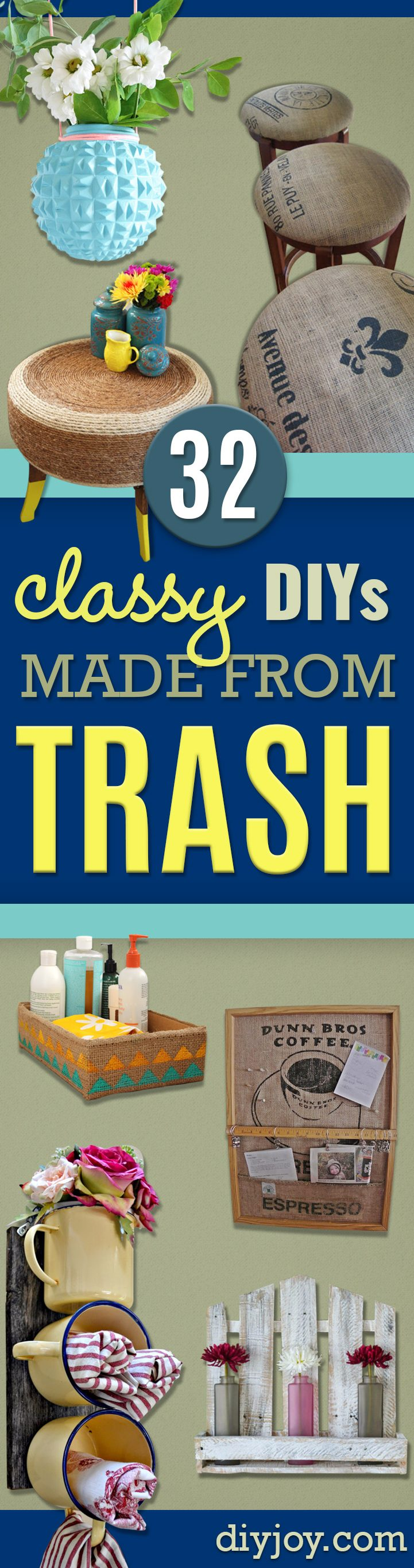DIY Projects Made From Trash - Recycled Crafts and DIY Made from Upcycled Items You Don't Want To Throw Away. Home Decor, Gifts and Fun Ideas for Kids, Adults and Teens Plastic Bottle and Back, Repurposed Wood DYI