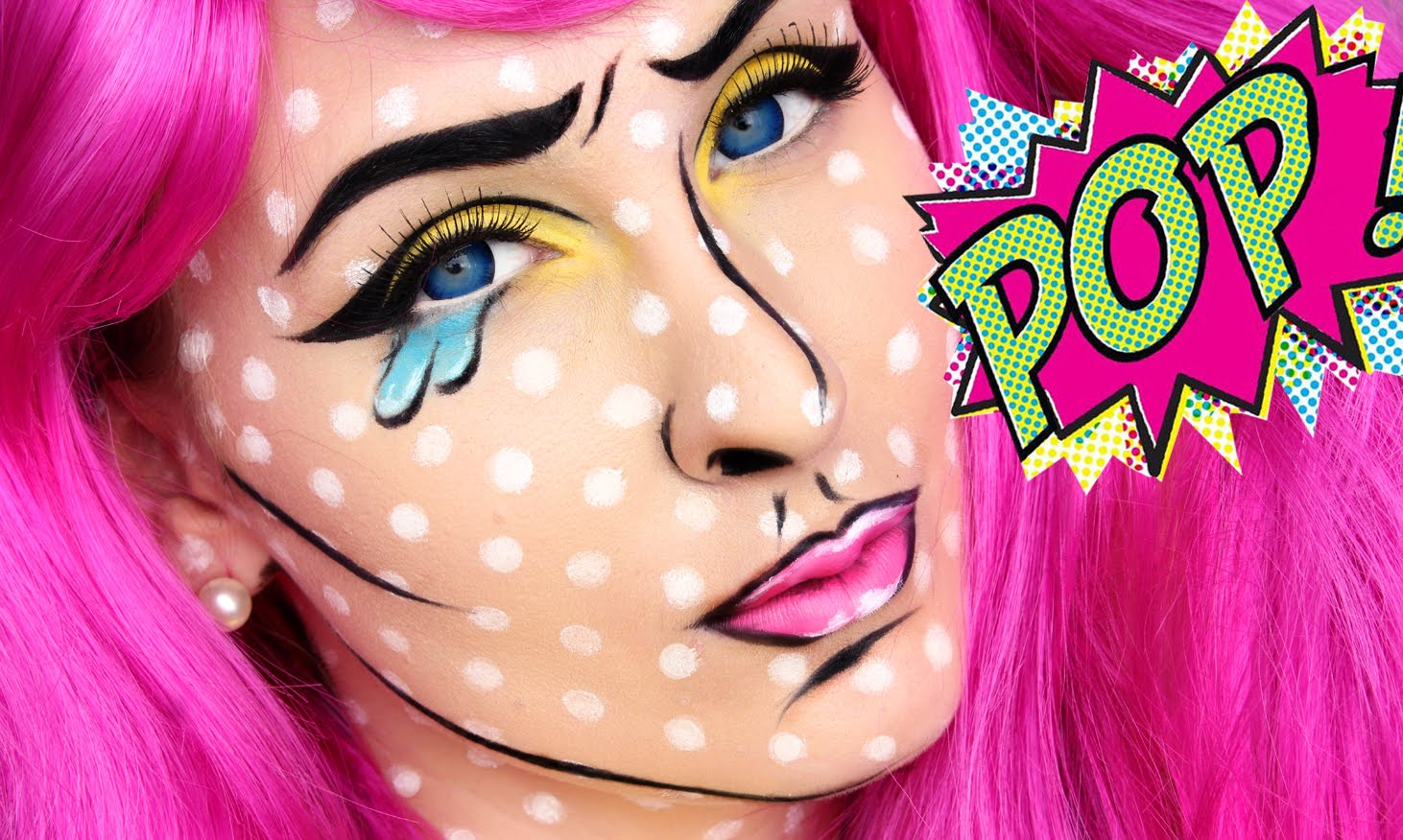 Pop Art Makeup Is The Rage For Halloween–She Shows You How To Get This Effect!