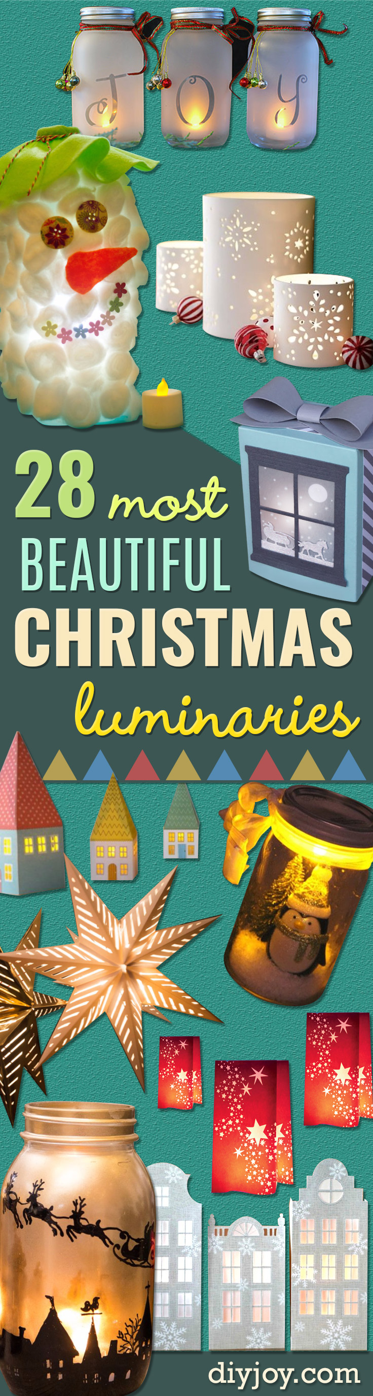 DIY Christmas Luminaries and Home Decor for The Holidays - Cool Candle Holders, Tea Lights, Holiday Gift Ideas, Christmas Crafts for Kids - Line Winter Walkways With Rustic Mason Jars, Paper Bag Luminaries and Creative Lighting Ideas
