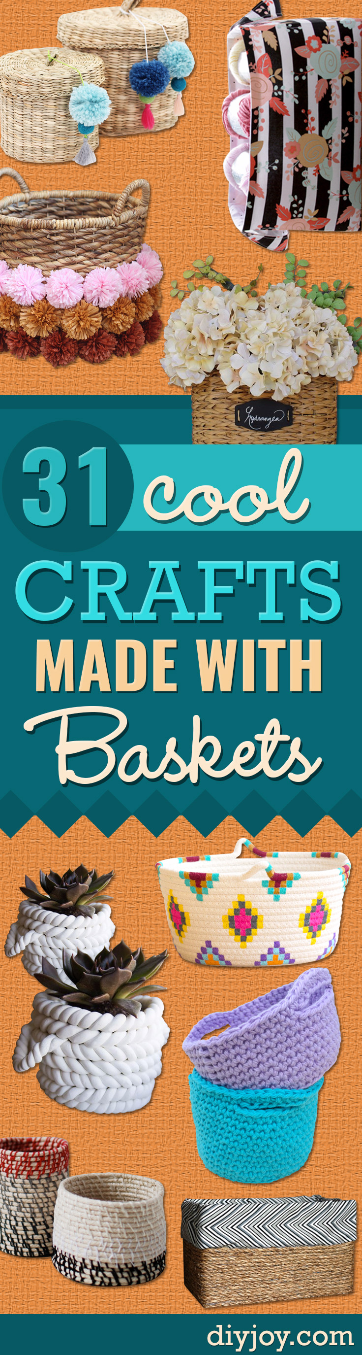 Creative Crafts Made With Baskets - DIY Storage and Organizing Ideas, Gift Basket Ideas, Best DIY Christmas Presents and Holiday Gifts, Room and Home Decor with Step by Step Tutorials - Easy DIY Ideas and Dollar Store Crafts http://diyjoy.com/diy-basket-crafts