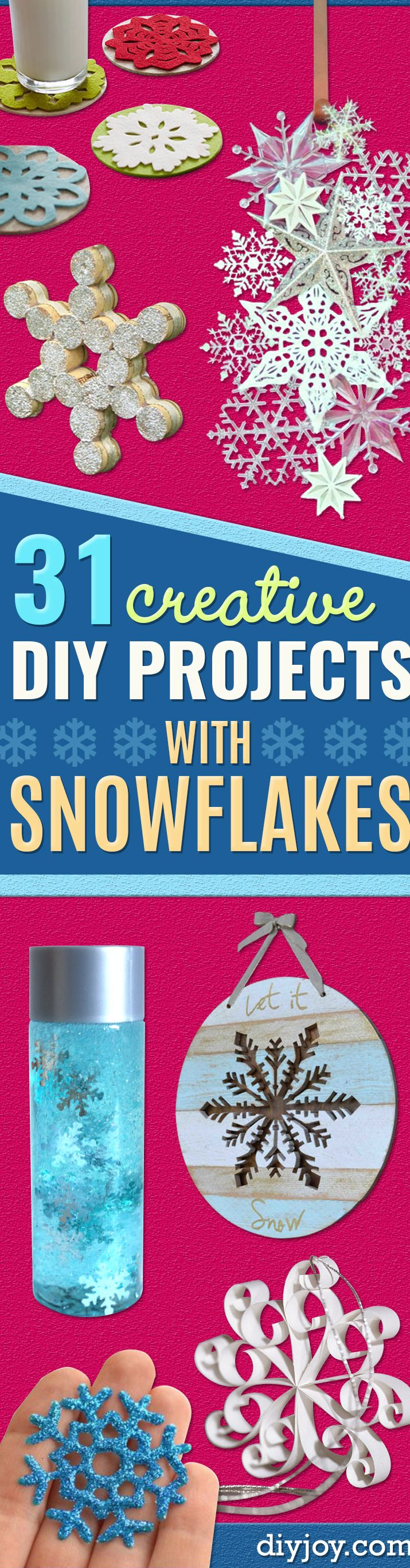 snowflake craft ideas winter - Best DIY Snowflake Decorations, Ornaments and Crafts - Paper Crafts with Snowflakes, Pipe Cleaner Projects, Mason Jars and Dollar Store Ideas - Easy DIY Ideas to Decorate for Winter - Creative Home Decor and Room Decorations for Adults, Teens and Kids