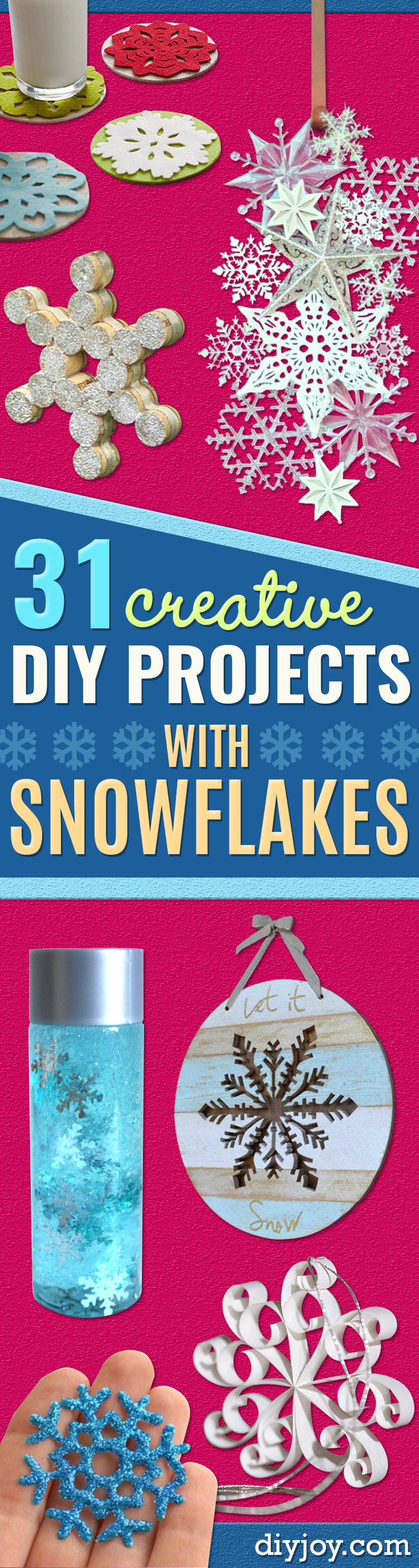 snowflake crafts winter - Best DIY Snowflake Decorations, Ornaments and Crafts - Paper Crafts with Snowflakes, Pipe Cleaner Projects, Mason Jars and Dollar Store Ideas - Easy DIY Ideas to Decorate for Winter - Creative Home Decor and Room Decorations for Adults, Teens and Kids