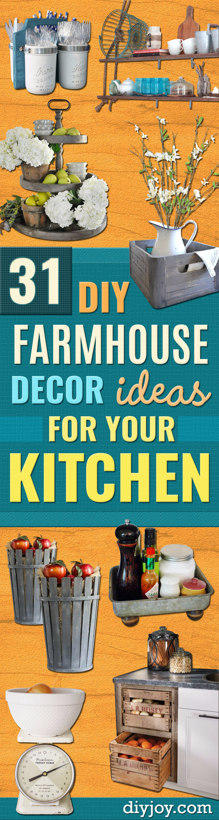 DIY Farmhouse Style Decor Ideas for the Kitchen - Rustic Farm House Crafts Ideas and DIY Furniture Projects for Home Decor- Wall Art, Rugs, Countertops, Lights
