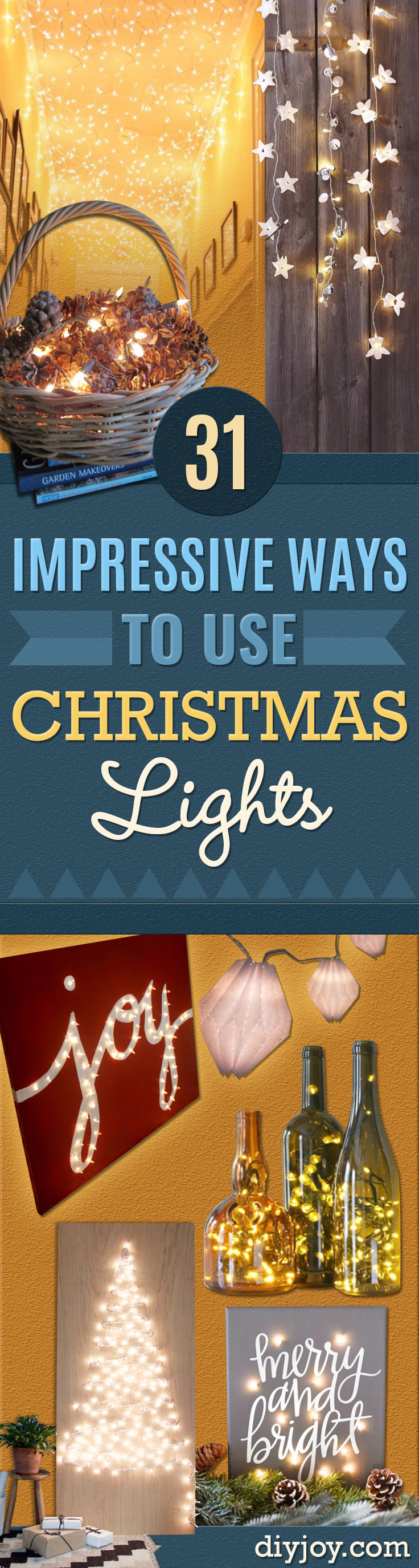DIY String Light Ideas - Cool Ways To Use Christmas Lights - Best Easy DIY Ideas for String Lights for Room Decoration, Home Decor and Creative DIY Bedroom Lighting - Creative Christmas Light Crafts #christmas #diy