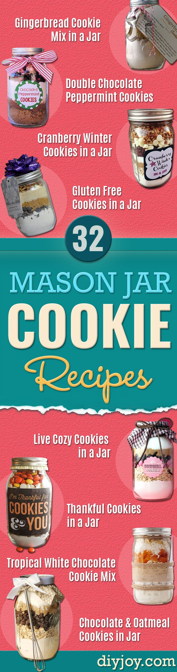 mason jar cookie recipes - Mason Jar Cookie Recipe Mix for Cute Decorated DIY Gifts - Easy Chocolate Chip Recipes, Christmas Presents and Wedding Favors in Mason Jars - Fun Ideas for DIY Parties and Cheap Last Minute Gift Ideas for Friends #masonjar #cookies #diygifts