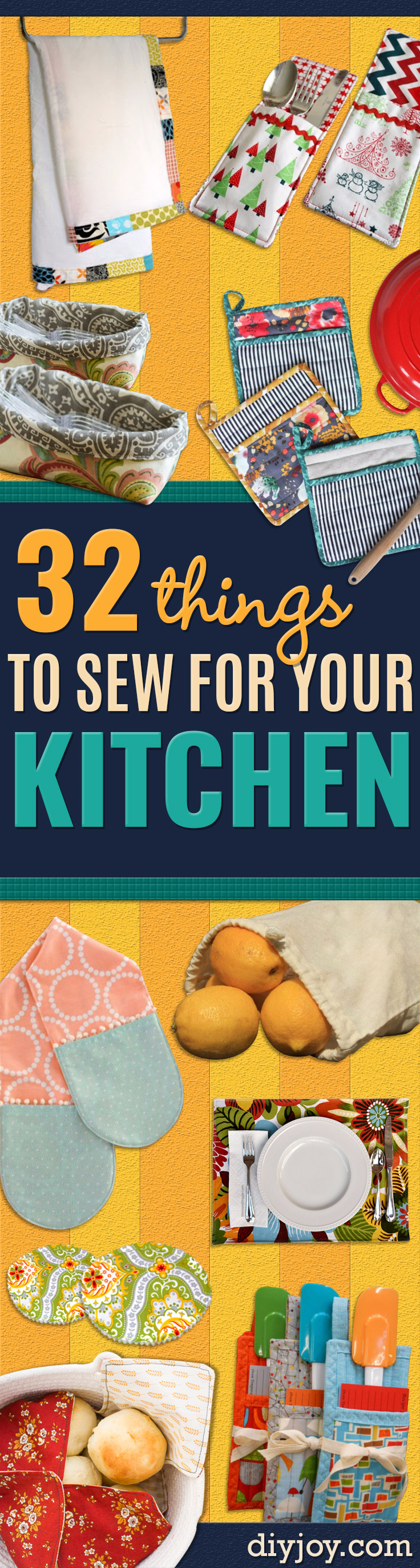 DIY Sewing Projects for the Kitchen - Easy Sewing Tutorials and Patterns for Towels, napkinds, aprons and cool Christmas gifts for friends and family - Rustic, Modern and Creative Home Decor Ideas #sewing #crafts #diykitchen #sewingprojects