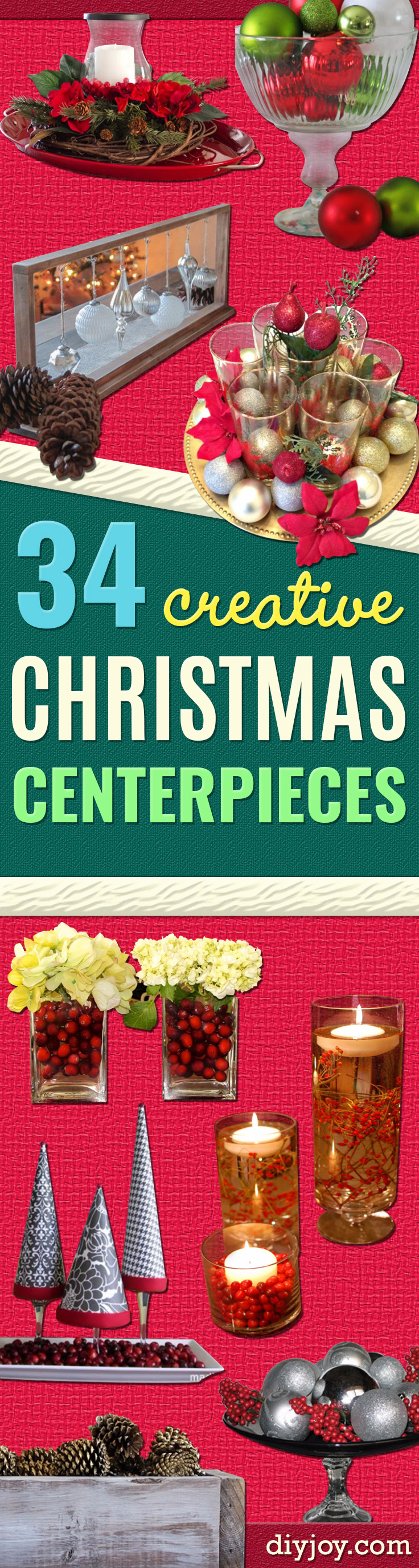 diy christmas centerpiece ideas - Simple, Easy Holiday Decorating Ideas on A Budget - Cheap Home and Table Decor for christmas centerpieces diy #diy #christmas