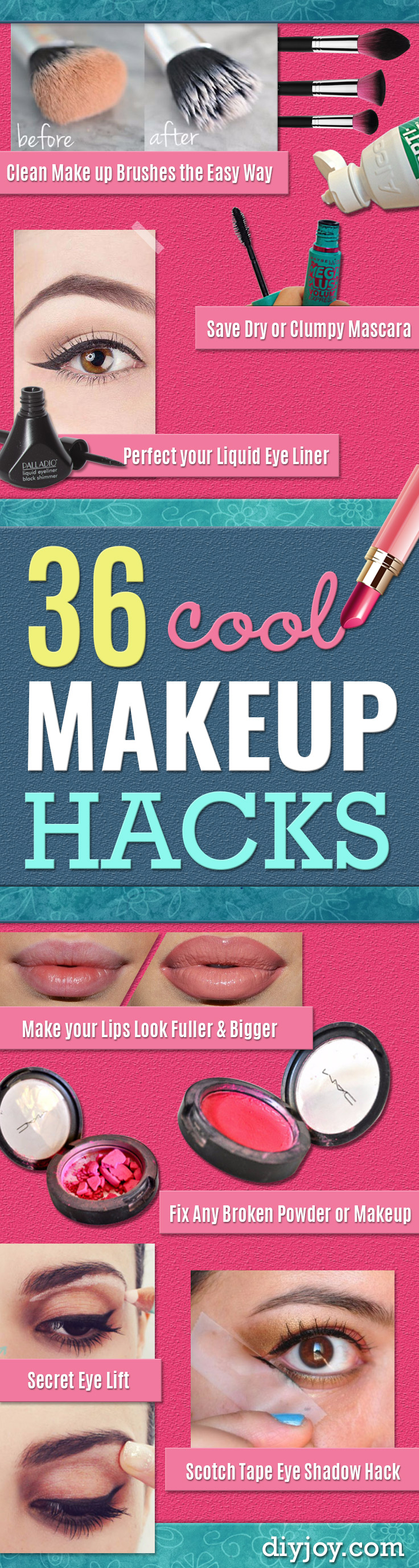 Cool DIY Makeup Hacks for Quick and Easy Beauty Ideas - How To Fix Broken Makeup, Tips and Tricks for Mascara and Eye Liner, Lipstick and Foundation Tutorials - Fast Do It Yourself Beauty Projects for Women http://diyjoy.com/makeup-hacks