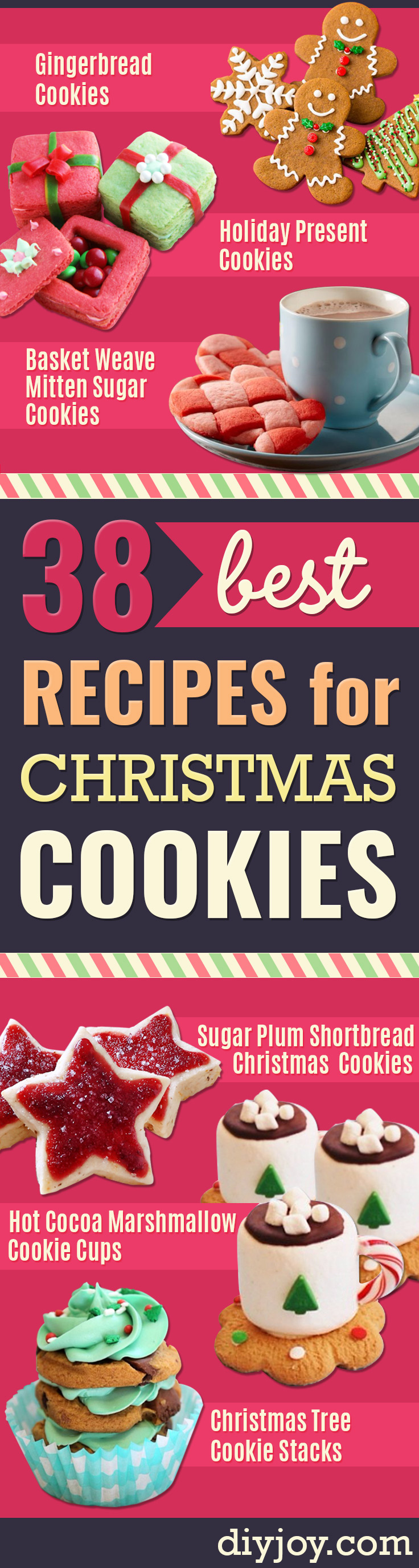 Best Recipes for Christmas Cookies - Easy Decorated Holiday Cookies - Candy Cookie Recipes Ideas for Kids - Traditional Favorites and Gluten Free and Healthy Versions - Quick No Bake Cookies and Last Minute Desserts for the Holidays http://diyjoy.com/best-christmas-cookie-recipes