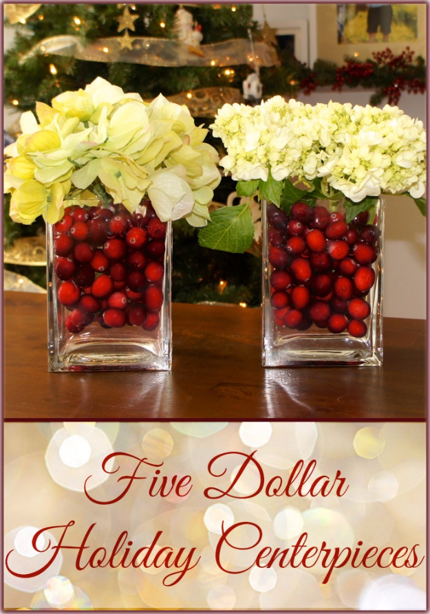 DIY Christmas Centerpieces - $5 Holiday Centerpiece - Simple, Easy Holiday Decorating Ideas on A Budget- cheap dollar store crafts holiday #holiday #crafts #christmas