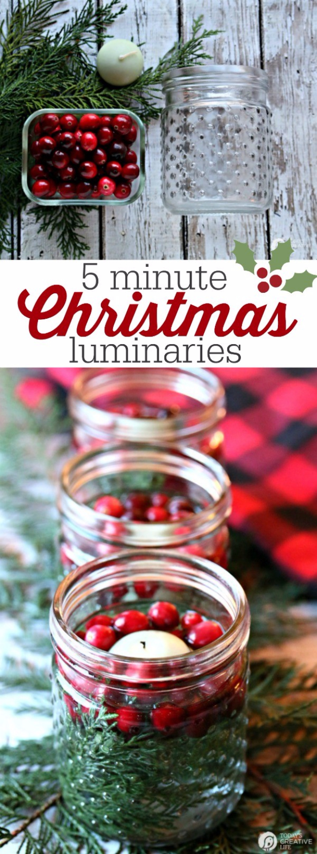 DIY Christmas Luminaries and Home Decor for The Holidays - 5 Minute Christmas Luminaries - Cool Candle Holders, Tea Lights, Holiday Gift Ideas, Christmas Crafts for Kids #diy #luminaries #christmas
