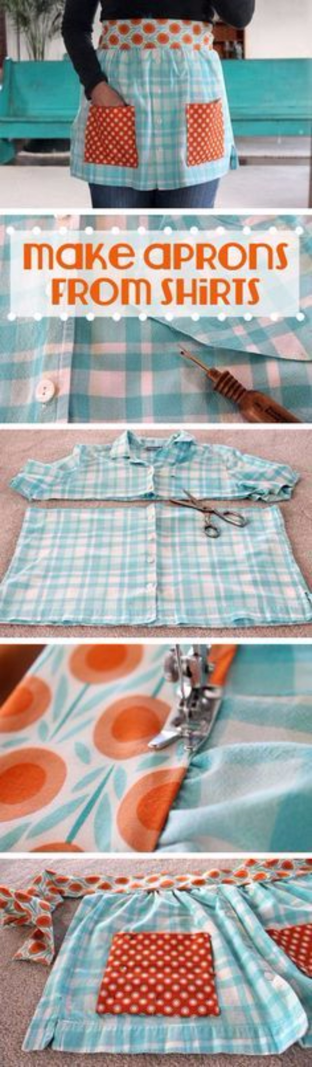 DIY Sewing Projects for the Kitchen - Aprons From Shirts - Easy Sewing Tutorials and Patterns for Towels, napkinds, aprons and cool Christmas gifts for friends and family - Rustic, Modern and Creative Home Decor Ideas #sewing #sewingprojects #sewingcrafts #kitchen