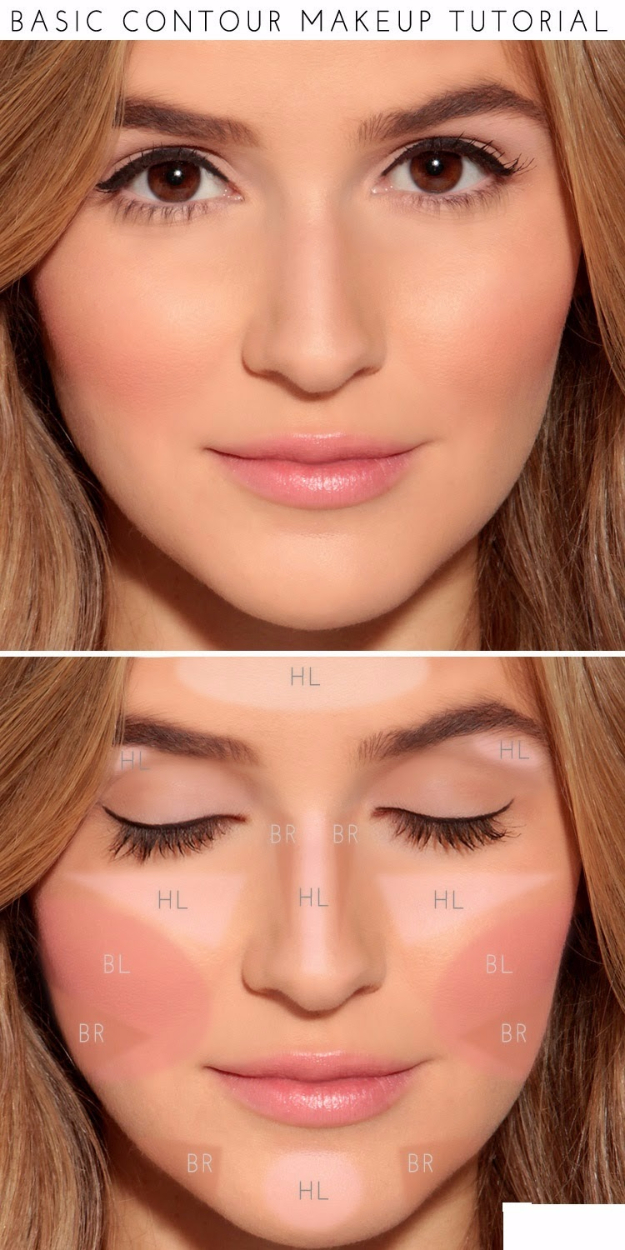 Cool DIY Makeup Hacks for Quick and Easy Beauty Ideas - Basic Contour Makeup - How To Fix Broken Makeup, Tips and Tricks for Mascara and Eye Liner, Lipstick and Foundation Tutorials - Fast Do It Yourself Beauty Projects for Women