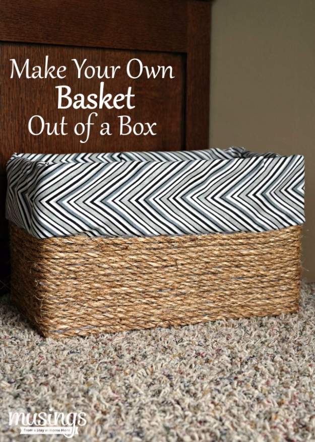 Creative Crafts Made With Baskets - Basket Out Of A Box - DIY Storage and Organizing Ideas, Gift Basket Ideas, Best DIY Christmas Presents and Holiday Gifts, Room and Home Decor with Step by Step Tutorials - Easy DIY Ideas and Dollar Store Crafts #crafts #diy
