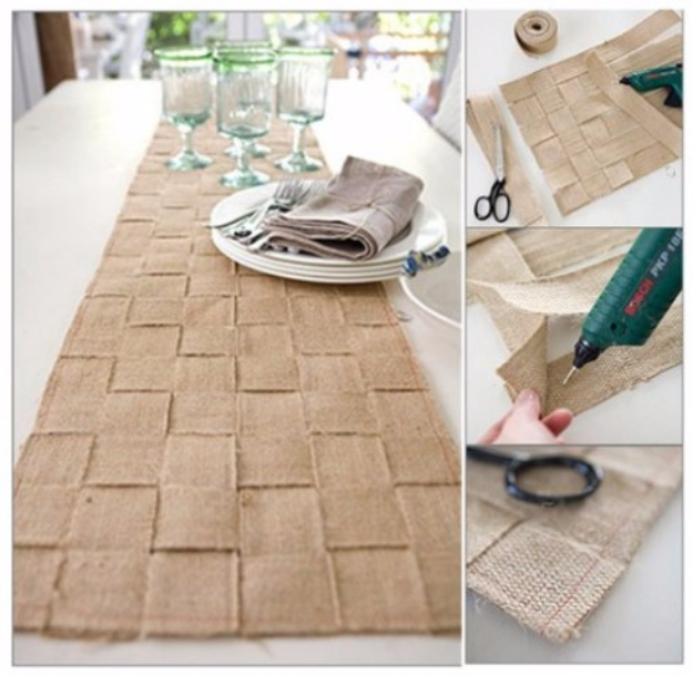 DIY Gifts for Friends - Christmas Gift Idea for Neighbor - - Basket Weave Burlap Table Runner - Cute Mason Jar Crafts, Gift Baskets and Cheap and Easy Gift Ideas to Make for Friends - Do It Yourself Projects You Can Sew and Craft That Make Awesome DIY Gifts and Homemade Christmas Presents #diygifts #christmasgifts #xmasgifts